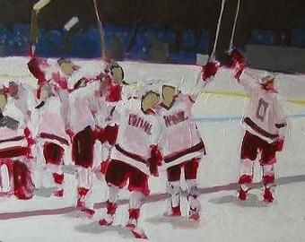 "Ice Hockey Original Painting . ""Salute"" 12x36 in."