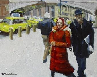 "NYC Street Scene Original Painting . ""Pershing Square"" 9x12 in."