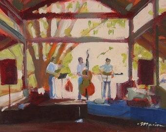 "Original Ithaca Farmers Market Painting of Three Musicians . ""Farmer's Market Trio"" 11x14in."