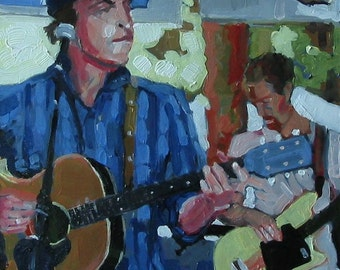"""Original Painting of Ithaca based band, the Talktomes . """"Frontmen"""" 10x10 in."""