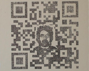 QR Code Original Painting/Print . Self Portrait in Black & Raw Titanium . 10x10 in.