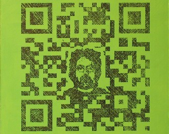 QR Code Original Painting/Print . Self Portrait in Black & Yellow Green . 10x10 in.