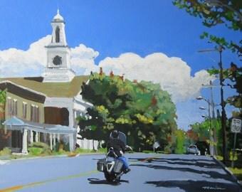 "Trumansburg Motorcycle Painting . ""Main, Street, Trumansburg"" 24x30 in."