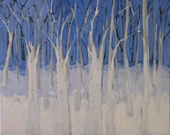 "Original Blue & White Painting . ""Winter Woods"" 16x20 in."