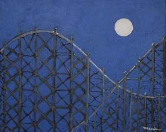 "Original Roller Coaster Painting . ""Midnight Coaster"" 16x20in."