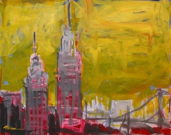 """Original Skyline Painting . """"Imagined Cityscape"""" . 16x20 in."""