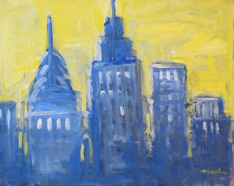 """Original Skyline Painting . """"Imagined Cityscape 2"""" . 16x20 in."""