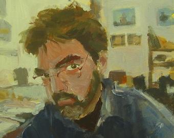 """Original Self Portrait Painting . """"Self-Portrait"""" 12x12"""