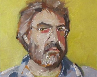 "Original Self Portrait Painting . ""Monday Morning Portrait"" 10x10 in."
