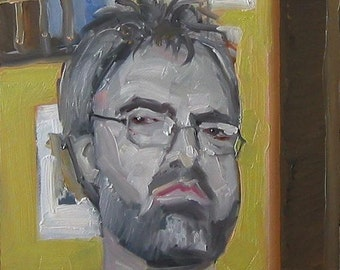 "Original Self Portrait Painting . ""Haircut"" 10x10 in."