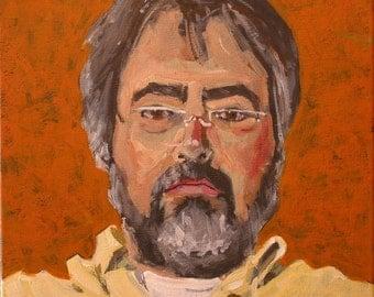 "Original Self Portrait Painting . ""Twenty Eleven"" 12x12 in."