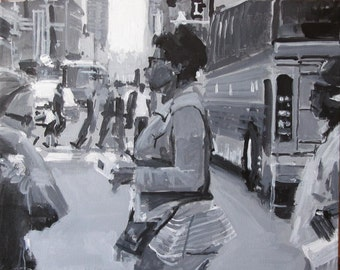 """New York City Streetscape Painting . """"42nd Street"""" 16x60 in. on 3 canvas(es)"""