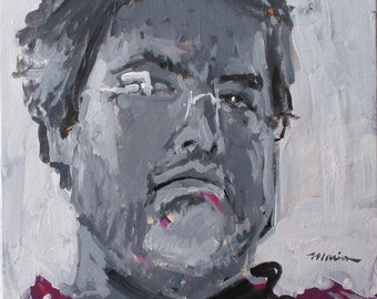 "Artist Self Portrait Painting . ""Polka Dots"" 12x12in."