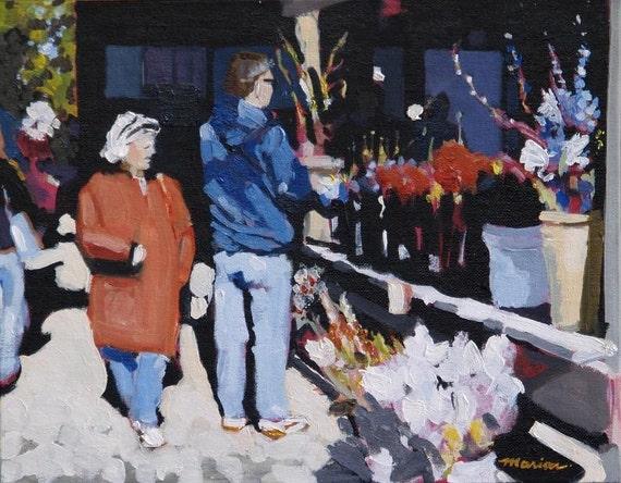 """Flower Market Original Painting . """"Flower Market"""" 11x14 in."""