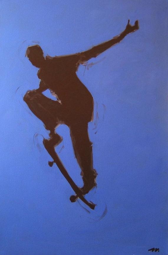 "Skateboarder Original Painting . ""Flight 1/3"" 36x24 in."