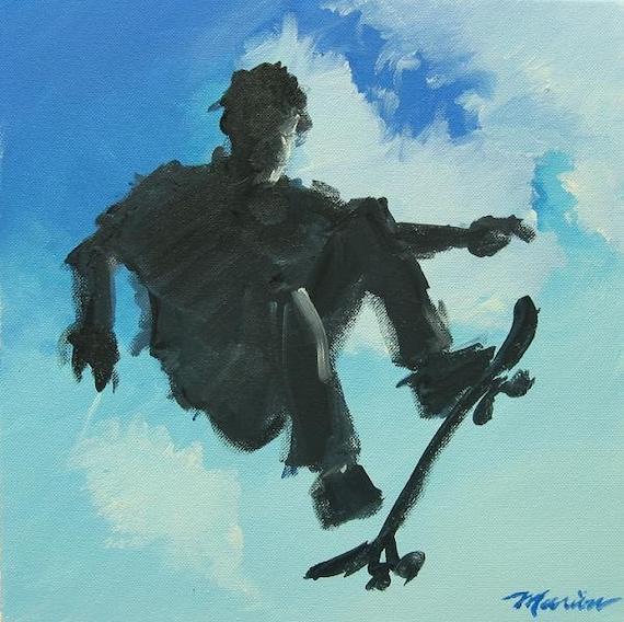 """Skateboarding Original Painting . """"Skate Boarder"""" 12x12 in."""