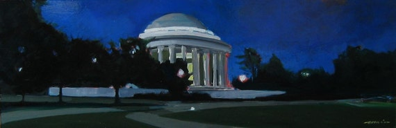 "Original Painting of the Jefferson Memorial . ""Jefferson Memorial"" 12x36 in."