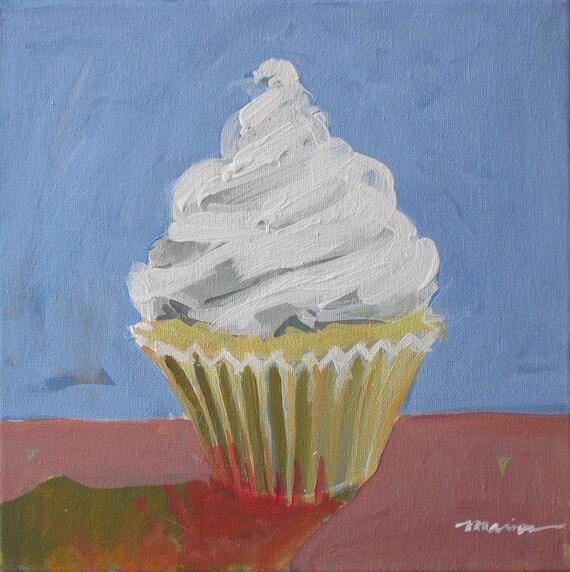 "Original Cupcake Painting . ""Shadow Cupcake"" 12x12in."