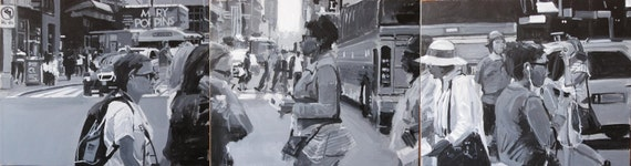 "New York City Streetscape Painting . ""42nd Street"" 16x60 in. on 3 canvas(es)"