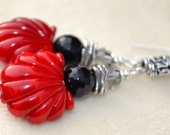 Reserve for Sandi-VIBRANT SEAS- Handmade Lampwork and Sterling Silver Earrings