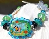 FOREVER-Handmade Lampwork and Sterling Silver Bracelet