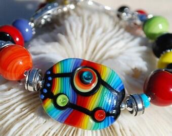 Sale-POP ART- Handmade Lampwork and Sterling Silver Bracelet