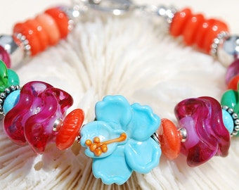 MAUI- Handmade Lampwork and Sterling Silver Bracelet