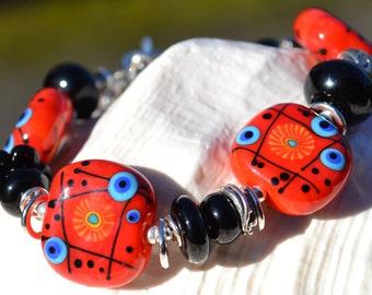BEAMING-Handmade Lampwork and Sterling Silver Bracelet