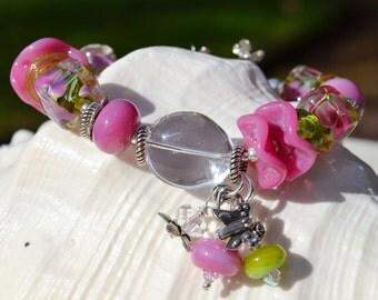 ENGLISH GARDEN-Handmade Lampwork and Sterling Silver Bracelet