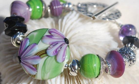 Reserve for Cheryl-MORNING GLORY- Handmade Lampwork and Sterling Silver Bracelet