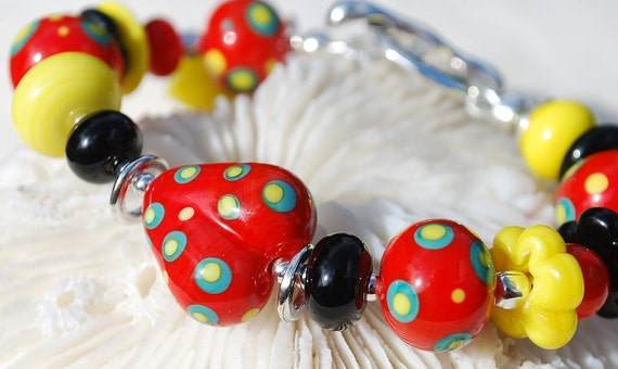 Reserve for Suzanne-LOVE,SUNSHINE and LAUGHTER-Handmade Lampwork and Sterling Silver Bracelet