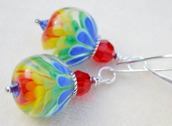 Reserve for Sandi-SOMEWHERE OVER the RAINBOW-Handmade Lampwork and Sterling Silver Earrings
