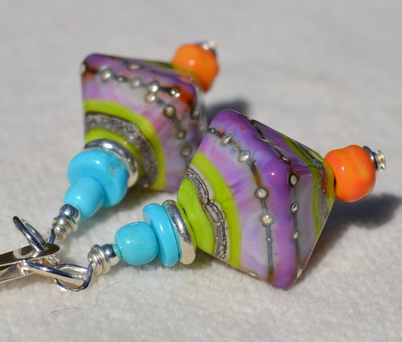 REFRESHED-Handmade Lampwork and Sterling Silver Earrings