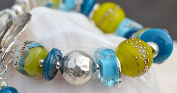 OUT of the BLUE-Handmade Lampwork and Sterling Silver Bracelet