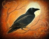 The Raven and the Moon - 8 x 10 Art Print - Oil Pastel Etching