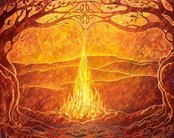Fire on the Mountain - 10.5 x 6.1 art print of oil pastel etching - celtic fire mythology pagan art