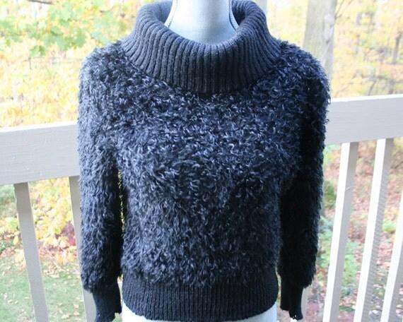 vintage faux fur black cowl sweater