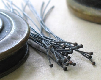 oxidized copper headpins- qty 24- 24 gauge