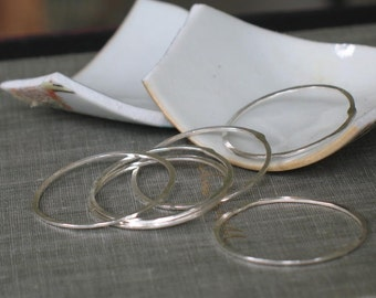 1 inch forged silver circles- handmade hoops