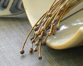 oxidized brass headpins- qty 24