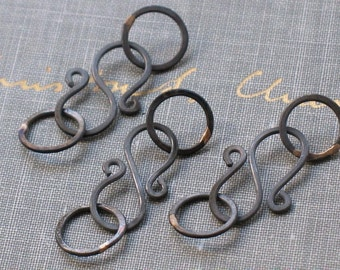 oxidized copper clasps- handmade s hook closures