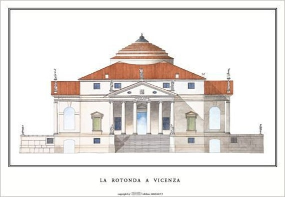 Big Palladio Poster 33x23in The Rotunda Signed By Author Etsy Andrea Palladio Palladio Architecture