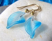 Earrings Vintage Glass Leaves by amaliarita