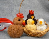 Chickens in a basket, Clucky the Rooster and his sweet family