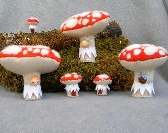 Toadstool elf with tiny mushroom house fantasy amanita mushroom soft toy