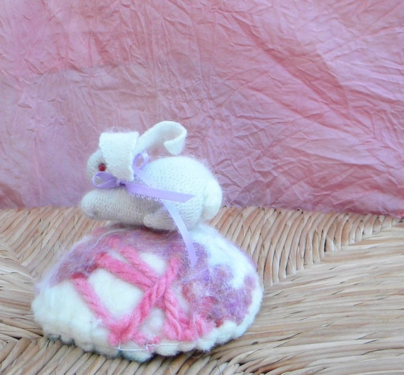 Snowball the angora bunny  and her springtime felted basket soft toy