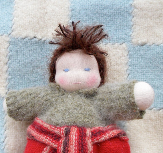Nandi the little waldorf style doll with moveable arms and removable clothes