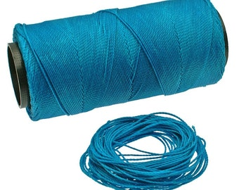 Turquoise: Waxed Polyester Cord, ~1mm Macrame Cord, pack of 25ft (8.33 yards) / Hilo Encerado, Linha Encerada, Waxed Polyester Thread