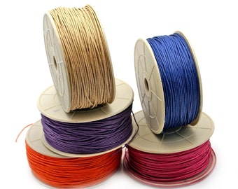 Mixed Colors BRAIDED Waxed Cotton Cord 1mm. Pack of 10 colors x 25ft per color. Pick your colors.