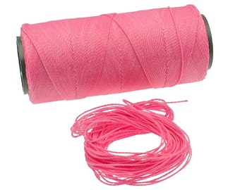 Bubblegum Pink: Waxed Polyester Cord, ~1mm Macrame Cord, pack of 25ft (8.33 yards) / Hilo Encerado, Linha Encerada, Waxed Polyester Thread